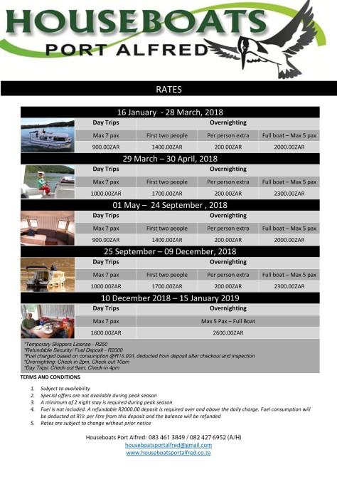 Houseboats Rates 2018